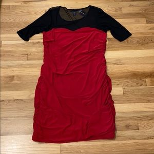 NWT Black and Red Sheer Top Dress